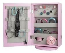 - New - Pink Double Sided Mirror Swivel Jewellery Storage Cabinet