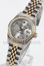 Rolex Ladies Datejust 18K Gold & Steel Silver Diamond Dial & Bezel Jubilee 2YR