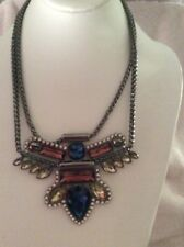 $45 GUESS  Hematite Crystal Aztec Bib Necklace G2