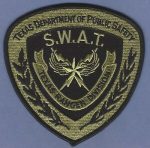 TEXAS DEPARTMENT OF PUBLIC SAFETY RANGER DIVISION SWAT TEAM SHOULDER PATCH GREEN