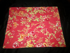 Pottery Barn Standard Pillow Sham Red Linen Blend Floral Rose Floral Red Yellow
