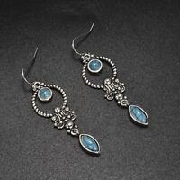 Vintage Boho Silver Turquoise Gemstone Drop Dangle Hooks Earrings Women Jewelry