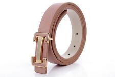 Women Belt Real Genuine Leather Plate Pin Lock Buckle Cow beige 328199000