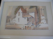 """NICE ORIGINAL WATERCOLOR """"STANLEY HOUSE, GARDEN GROVE"""" SIGNED BY ROLAND R HAAS"""