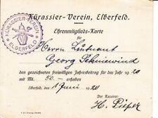 Kürassier-verein Elberfeld. Ehrenmitgliedskarte 1920