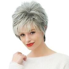 Women's Short Fluffy Human Hair Wigs Pixie Cut Natural Wavy Wig Ombre Gray