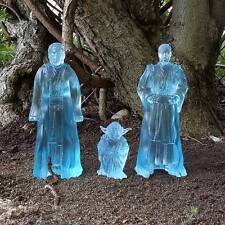 """Custom cast 6"""" Jedi force ghost spirit set 3 Star Wars black figures SDCC H"""