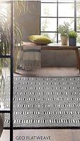 Origin Geo Flat Weave Moroccan Inspired Hand Woven Wool Rug 80 x 150cm Black