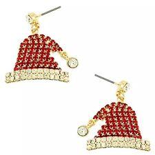 CHRISTMAS HOLIDAY SANTA CLAUS HAT RED & WHITE RHINESTONE EARRINGS