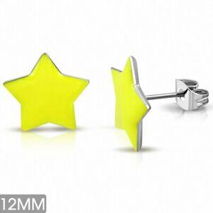 12mm Earrings Nails Stars Stainless Steel Enamelled Yellow (Pair