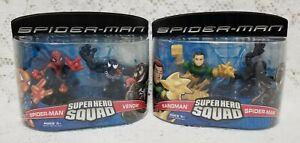 Super Hero Squad Spiderman vs Venom & Spiderman vs Sandman Figures - New