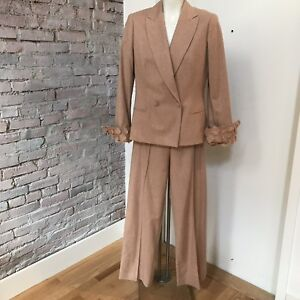 Gianfranco Ferre Ladies Pants Suit Size 42 Dusty Rose Winged Cuffs