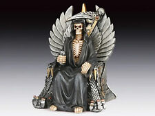 Grim Reaper Skeleton Sitting Figurine Statue  Halloween