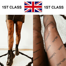 BLACK CITY NAME SLOGAN PRINTED TIGHTS BLOGGERS UK