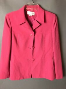 Petite Sophisticate Pink Blazer 4P Career Lined Polyester Button Up