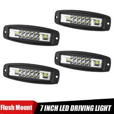 4X Flush Mount 7in LED Work Light Bar Spot Flood Combo Pods Offroad Fog Lamp SUV