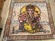"Ganesha Tapestry Hand Painted India Bohemian Ganesh The Fast Turtle 80"" X 90"""