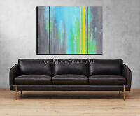48x36 Original Abstract Art - Turquoise, Green, Brown, Gray  - US Artist