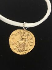 "Aureus Of Hadrian Coin WC59 Gold English Pewter On a 18"" White Cord Necklace"