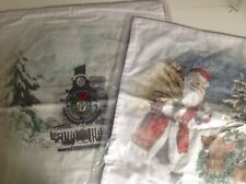 "Pottery Barn Nostalgic Santa TRAIN/DOG PILLOW COVER 20"" Embroider Christmas NEW"