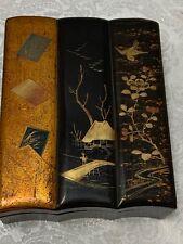 Black Lacquer Ware Jewelry Desk Box Vintage 3 Gilt Panels Bird Tree Motif Signed