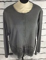 Stitches In Time Gray Button Up Cardigan Embroidered Size 1X Casual Work Flowers