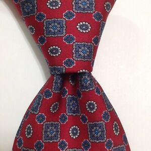 BRIONI Men's 100% Silk XL Necktie ITALY Luxury Designer Geometric Red/Blue EUC