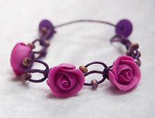 Bracelet Purple Rose Clay Flower Bohemian Bridal Hippie Wedding Adjustable 8""
