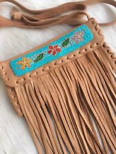 NWT HANDMADE Genuine Deertan Leather Fringe Beaded Small Purse Handbag