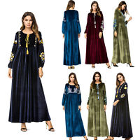 Muslim Abaya Women Embroidered Velvet Flower Long Maxi Dress Dubai Robe Gown New