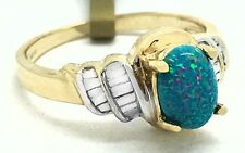 GENUINE 0.73 Cts Australian OPAL RING 14k Gold ** New with Tag & FREE Appraisal
