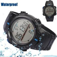 Blue Men Waterproof LED Digital Date Military Sport Rubber Quartz Watch Alarm