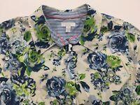 New CHARTER CLUB Button Blouse Size 2X Plus Size Floral Blue