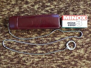 VINTAGE SUBMINIATURE MINOX SPY CAMERA IN RED LEATHER CASE ORIGINAL CHAIN & FILM
