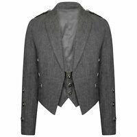 Tweed Crail Scottish Prince Charlie Jacket & Waistcoat Custom Made (Kilt Jacket)