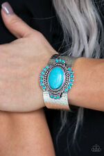 Paparazzi jewelry Canyon Crafted Turquoise Stone Silver Hammered Cuff Bracelet