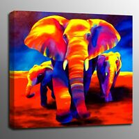 Animals Home Decor Wall Art Oil Painting Canvas Prints Elephant family Picture