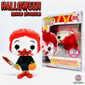 Custom Funko Pop 🎃 Halloween Ronald McDonald 🤡 UV Blacklight💡Blood Case 🩸