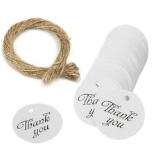 100x White Gift Tags Thank You paper tags for Label Party Decor with Twine ^P