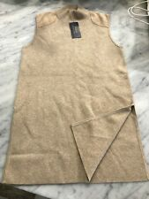 Polo Ralph Lauren Womans Sleeveless Mock Turtle Neck Hip Shirt - Beige $165 XS/S