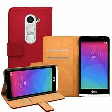 Wallet RED Leather Mobile Phone Accessories LG Leon 4G LTE  - Case Cover Pouch