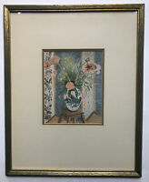 Henry Matisse Print Flowers In A Vase On A Stand Matted And Framed