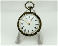 Open Face Pocket Watch, As Is Antique Remontoir Cylindre 10J Silver Cased Swiss