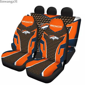 Denver Broncos 5 Seater Car Seat Covers Universal Fit Cushion Full Set Protector