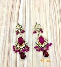 Traditional Gold Tone Pink Bollywood Kundan Pearl Party Wear Earring --