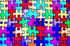 BRIGHT MULTICOLORED JIGSAW PUZZLE ANTI PILL FLEECE MATERIAL 2 YARDS 60 X 72""