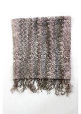 MISSONI ORANGE LABEL Multicolored Wool Fringed Edge Knit Rectangular Scarf