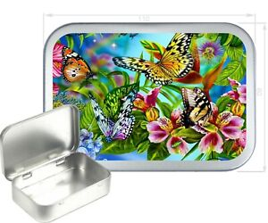 Colourful Butterfly 150ml Silver Hinged Tobacco Tin, 2oz Tobacco Tin, Gift Box