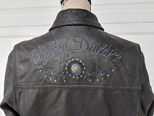 Harley Davidson Women's Large Genuine Leather Jacket Black L