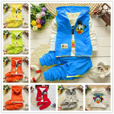3pcs Toddler Boys Girls Cartoon Duck Hooded Vest+Tops+Pants Cotton Casual Sets
